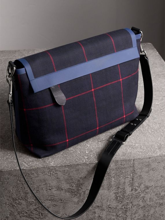 Large Tartan Cotton Messenger Bag in Deep Navy | Burberry - cell image 3