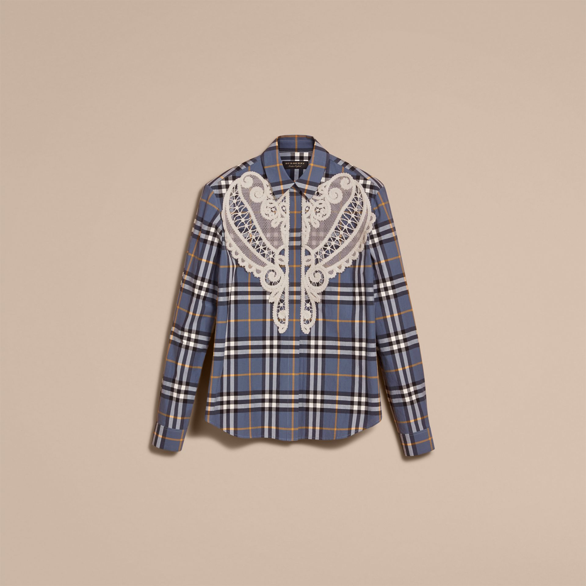 Lace Appliqué Check Cotton Shirt in Pewter Blue - Women | Burberry - gallery image 4