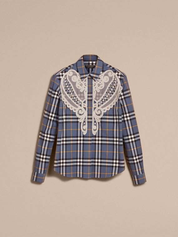 Lace Appliqué Check Cotton Shirt in Pewter Blue - Women | Burberry - cell image 3