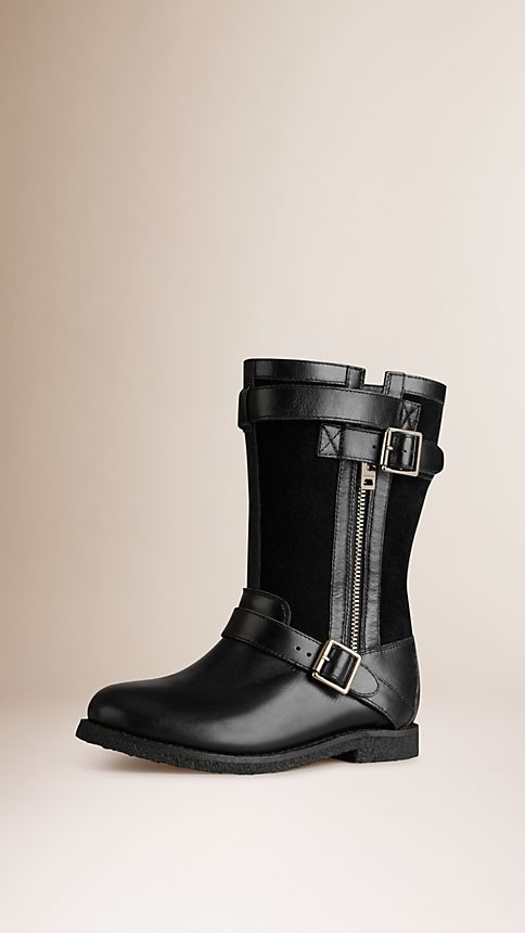 Black Belted Buckle Detail Leather Boots - Image 1