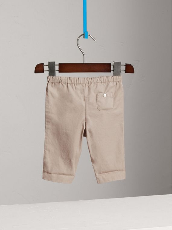 Check Turn-Up Cotton Trousers in Taupe | Burberry - cell image 3