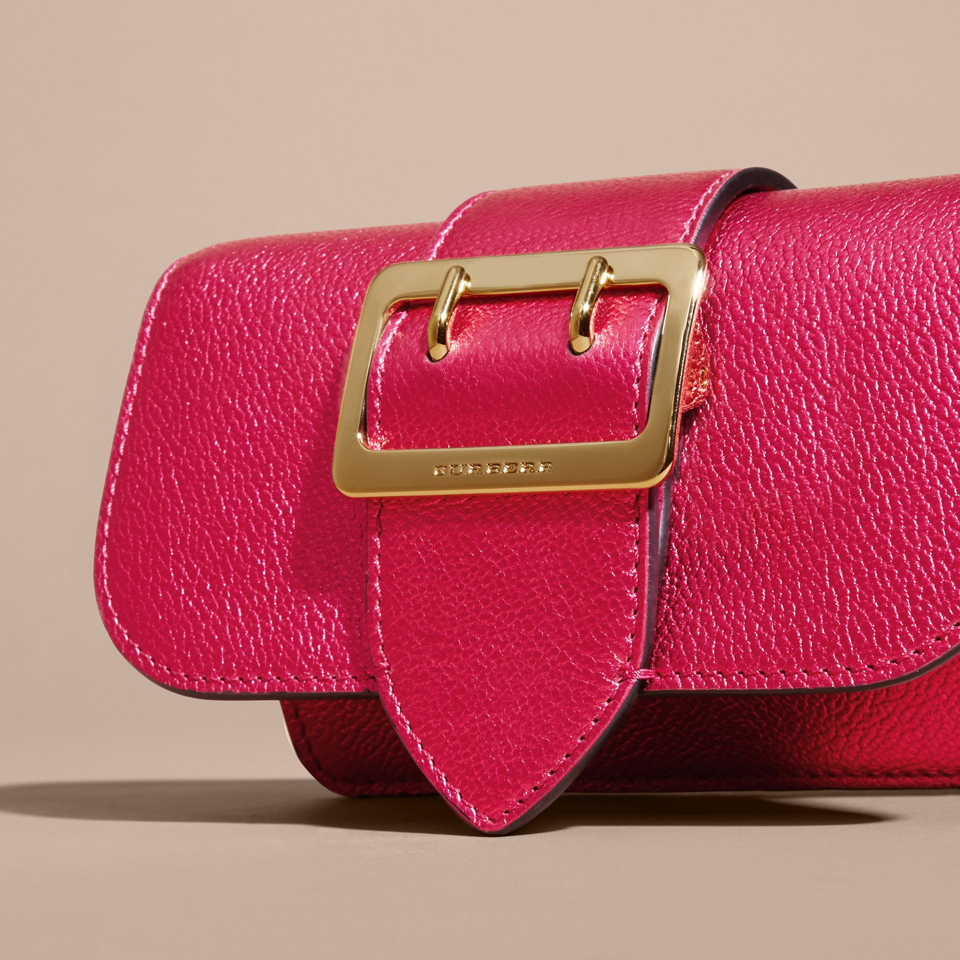Bright pink The Mini Buckle Bag in Metallic Grainy Leather Bright Pink - gallery image 2