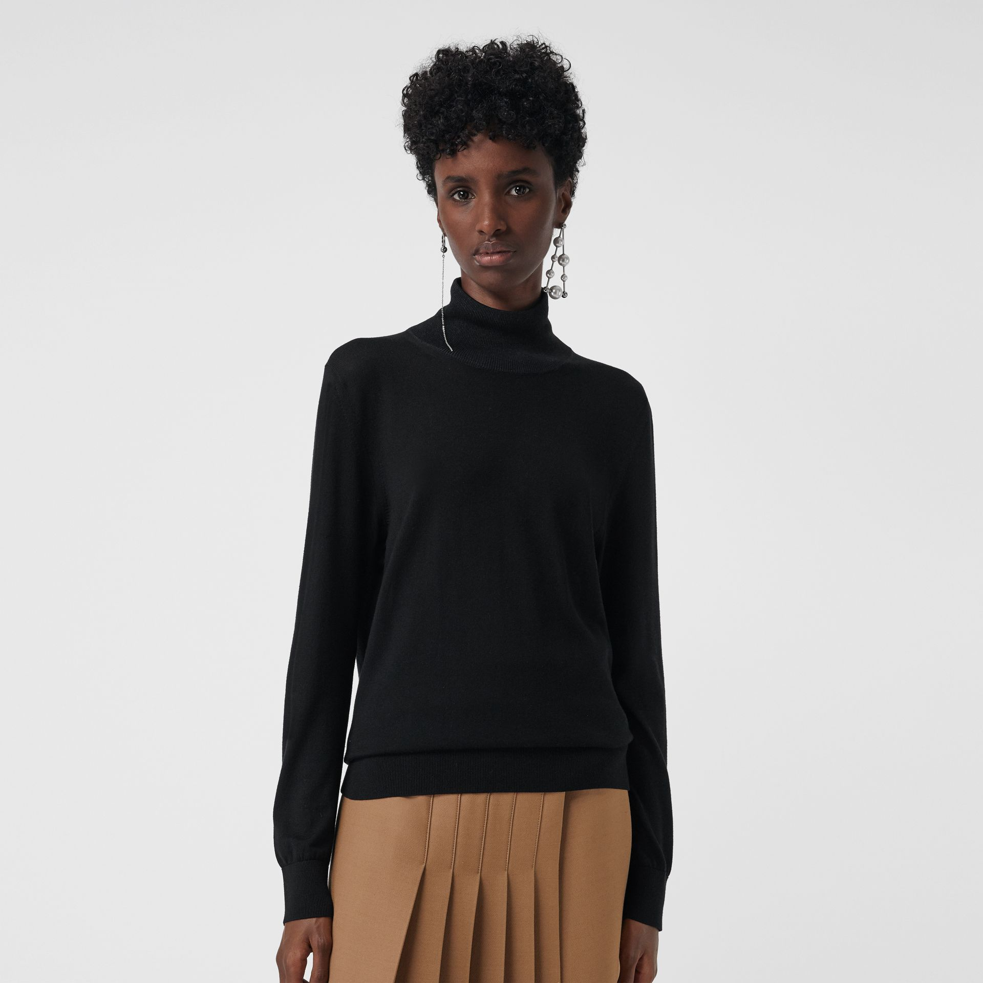Silk Cashmere Roll-neck Sweater in Black - Women | Burberry - gallery image 4