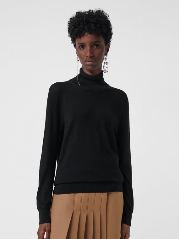 Jersey en seda y cachemir con cuello alto (Negro)