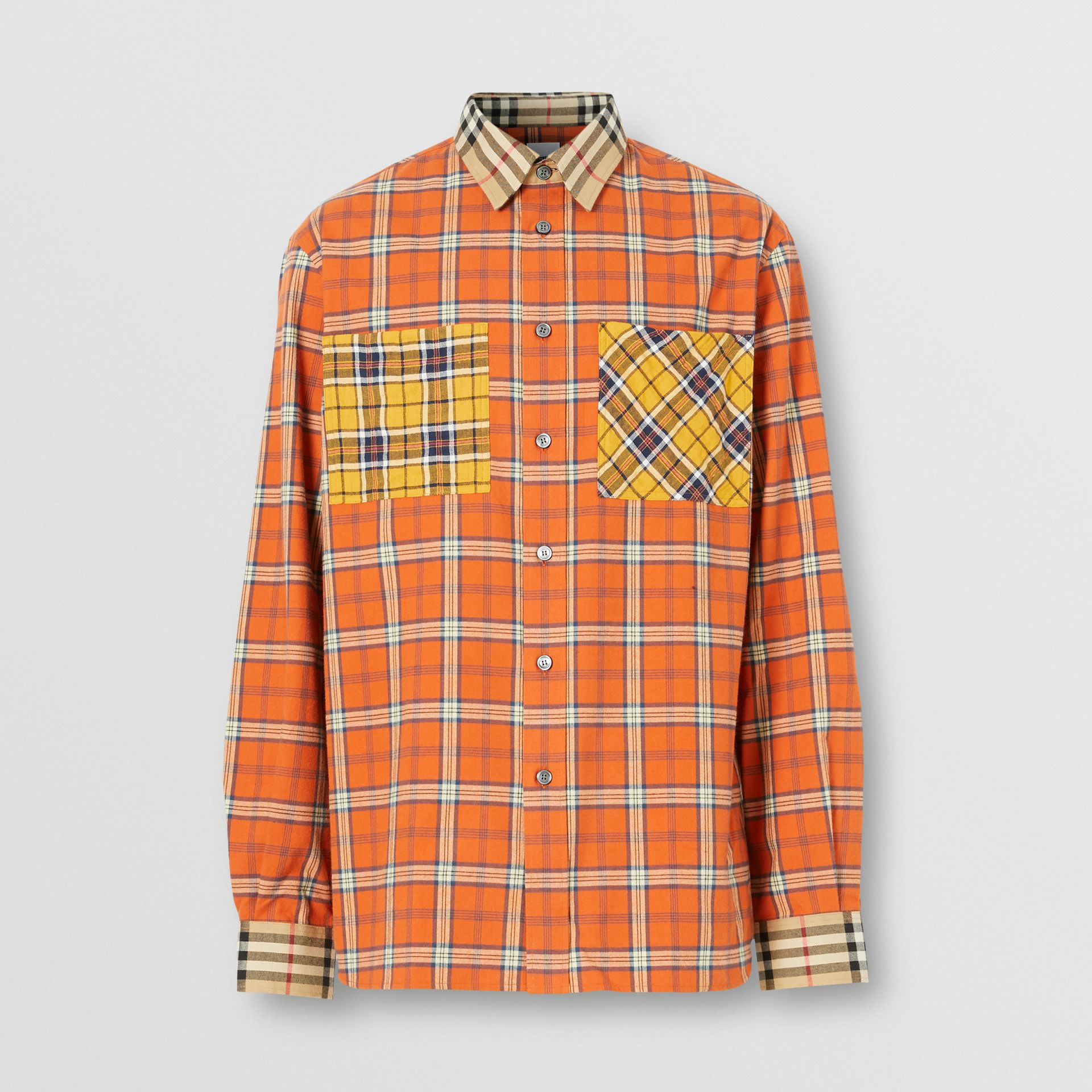 Contrast Check Cotton Flannel Oversized Shirt in Orange - Men | Burberry - gallery image 3
