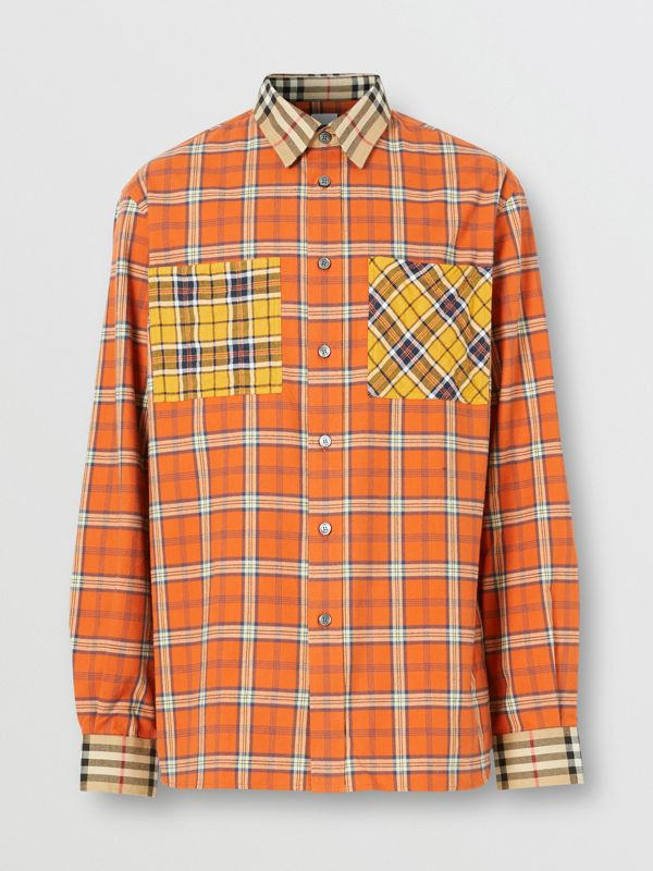 Contrast Check Cotton Flannel Oversized Shirt in Orange - Men | Burberry - cell image 3