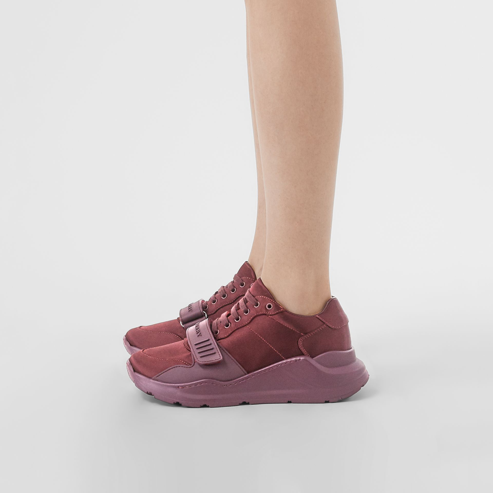 Satin Sneakers in Claret - Women | Burberry - gallery image 2