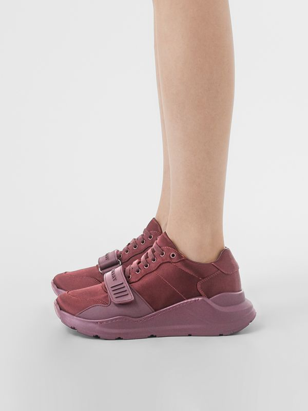 Satin Sneakers in Claret - Women | Burberry United Kingdom - cell image 2