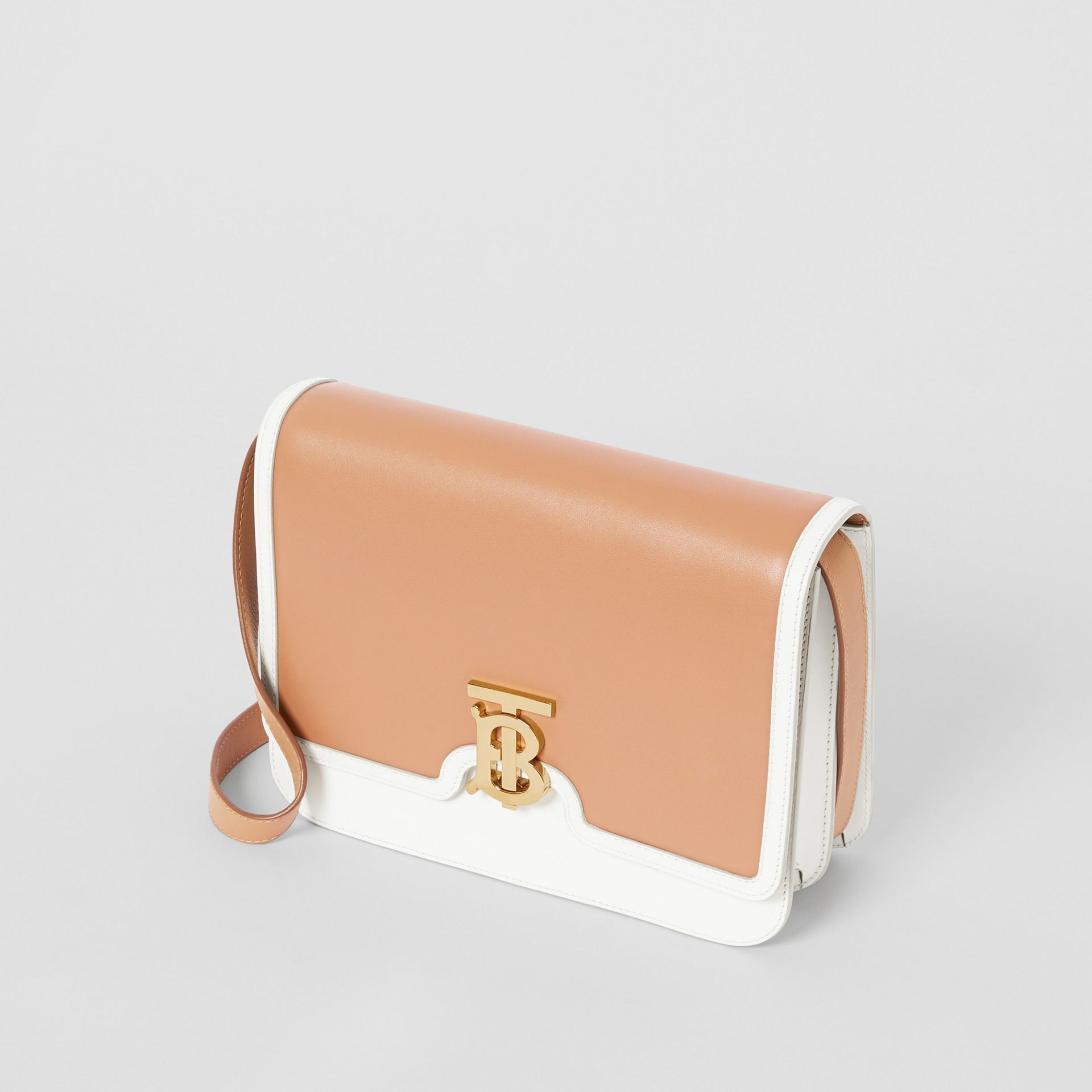 Medium Two-tone Leather TB Bag in Chalk White/light Camel - Women | Burberry - gallery image 3