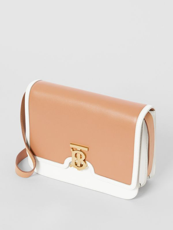 Medium Two-tone Leather TB Bag in Chalk White/light Camel - Women | Burberry United States - cell image 3