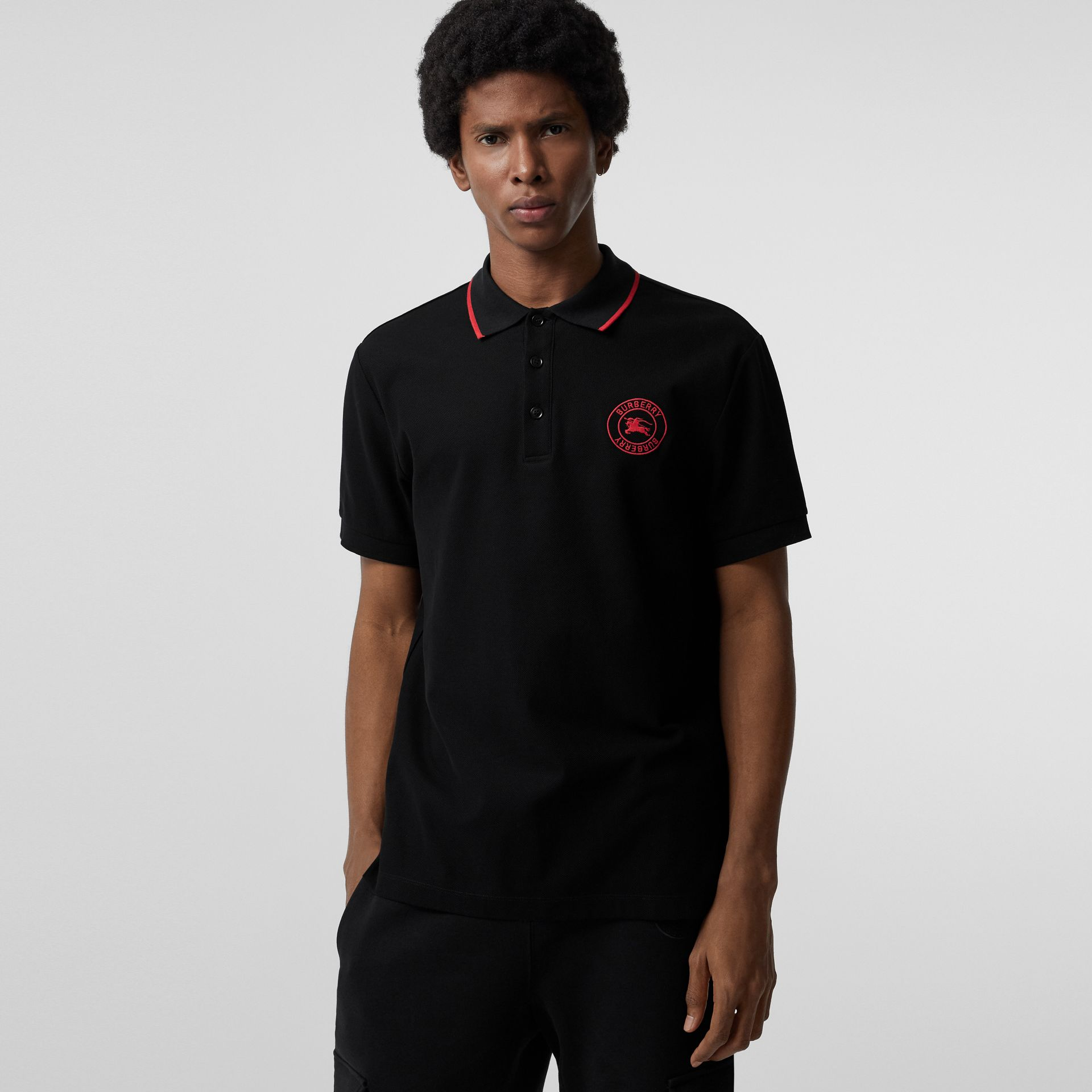 Embroidered Logo Cotton Piqué Polo Shirt in Black - Men | Burberry - gallery image 0