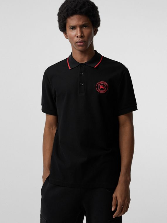 Embroidered Logo Cotton Piqué Polo Shirt in Black