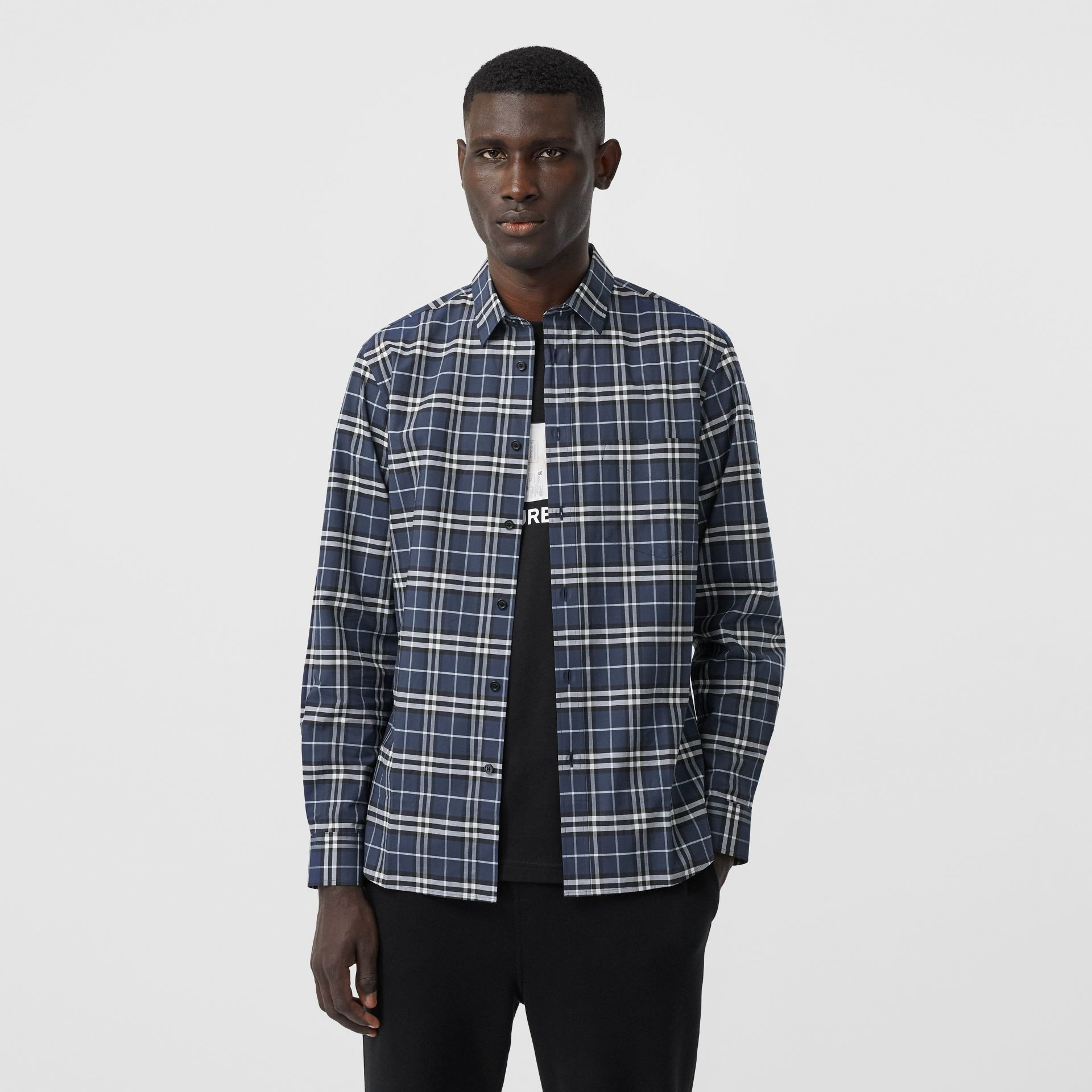 Small Scale Check Stretch Cotton Shirt in Dark Navy - Men | Burberry Hong Kong S.A.R - gallery image 4