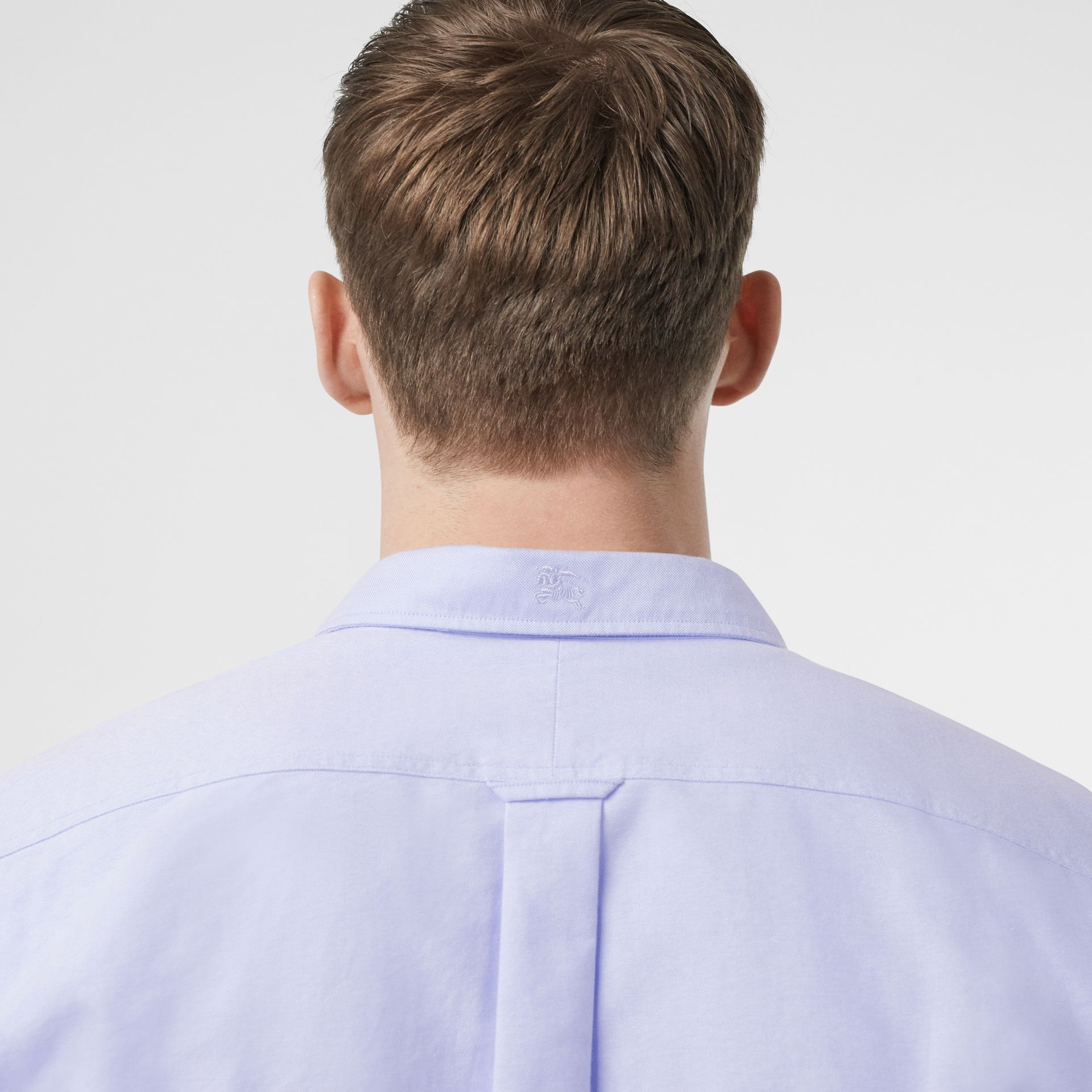 Button-down Collar Cotton Oxford Shirt in Cornflower Blue - Men | Burberry United Kingdom - gallery image 1