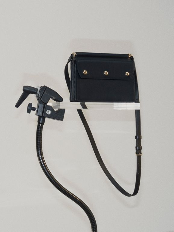 Mini Leather Title Bag with Pocket Detail in Black - Women | Burberry United States - cell image 1