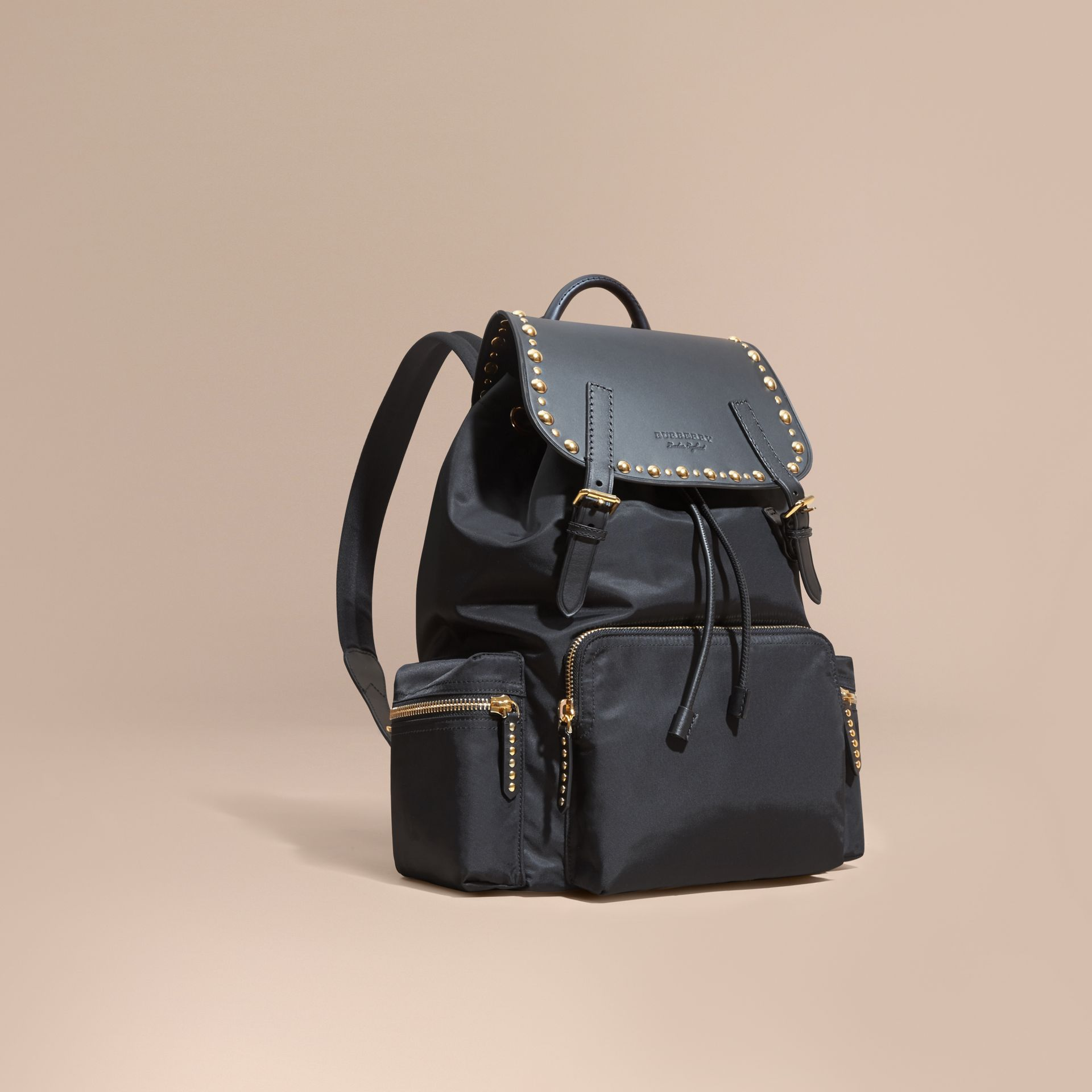 Black The Large Rucksack in Nylon and Riveted Leather - gallery image 1
