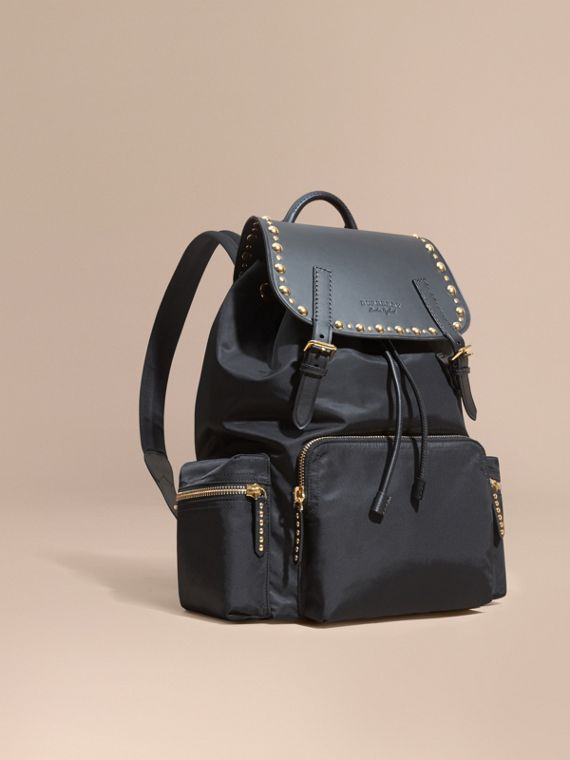 Zaino The Rucksack grande in nylon e pelle con rivetti