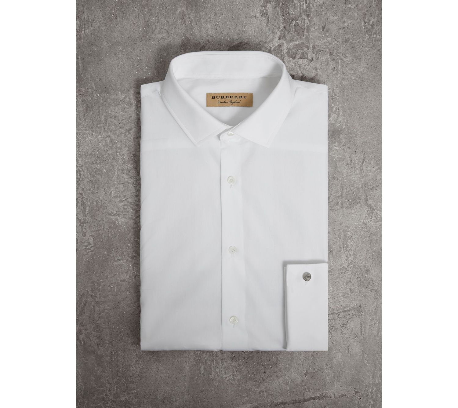 Slim Fit Double Cuff Cotton Poplin Shirt in White
