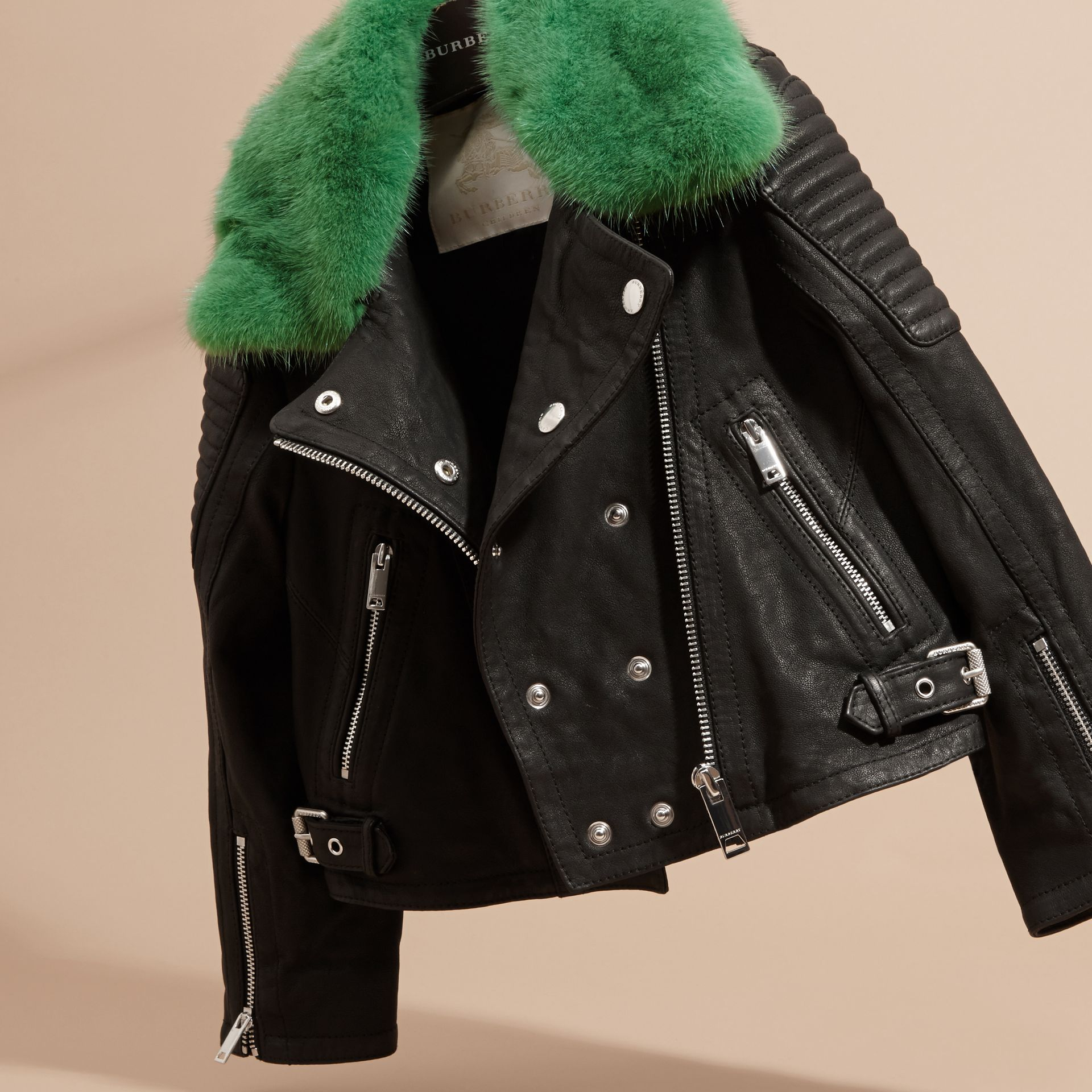 Black Lambskin Biker Jacket with Detachable Mink Collar - gallery image 3
