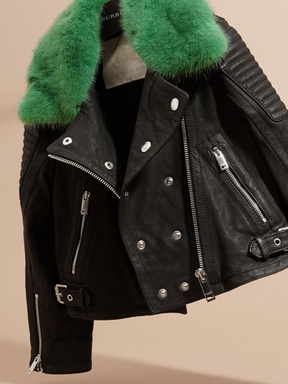 Black Lambskin Biker Jacket with Detachable Mink Collar - cell image 2
