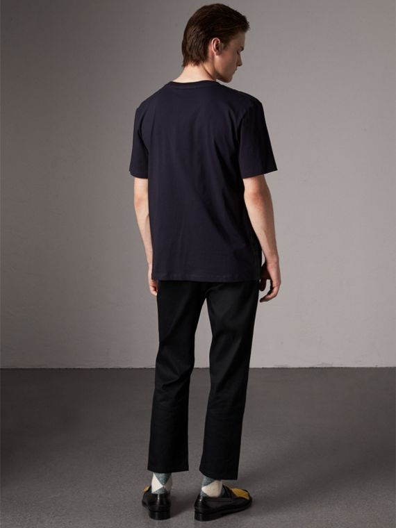 Tartan Panel Cotton T-shirt in Navy - Men | Burberry - cell image 2