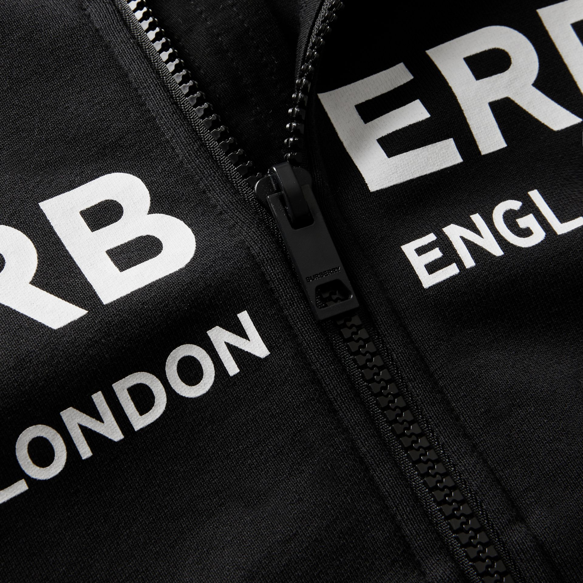 Logo Print Cotton Hooded Top in Black | Burberry Canada - gallery image 1