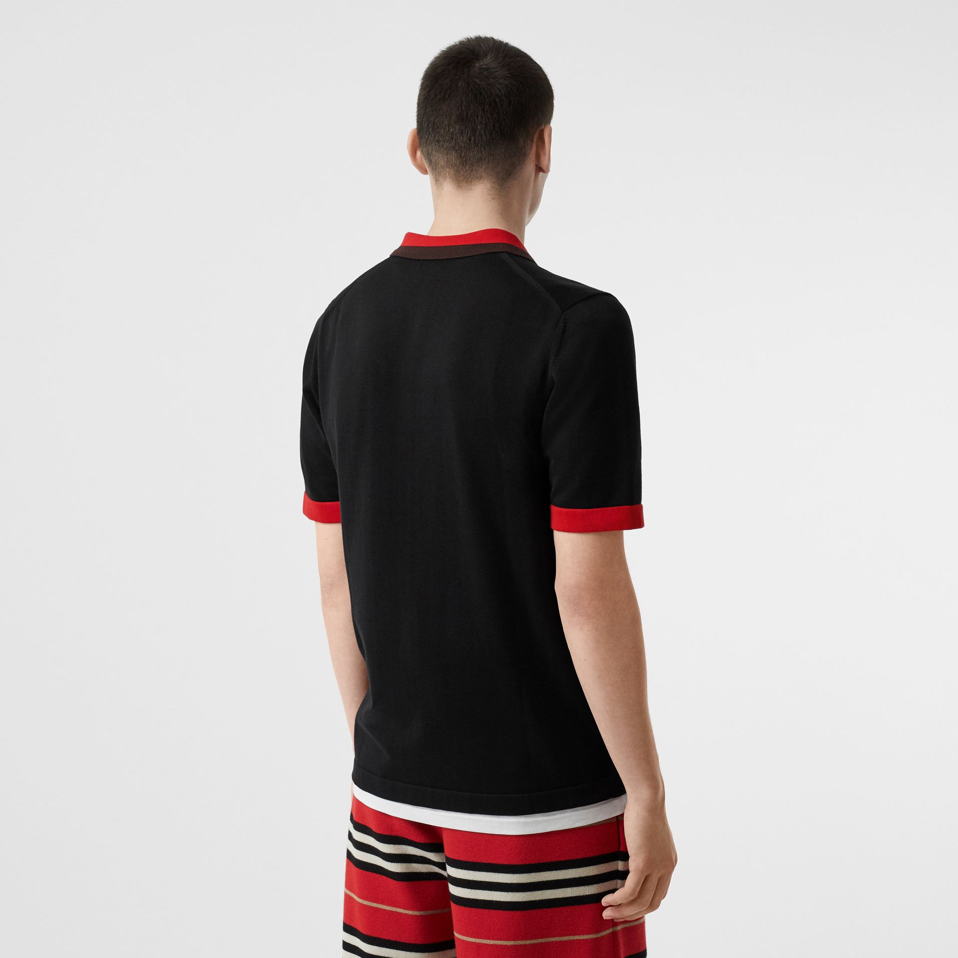 Polo à col en pointe en coton Monogram (Noir) - Homme | Burberry - photo de la galerie 2