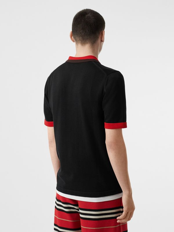 Monogram Motif Tipped Cotton Polo Shirt in Black - Men | Burberry - cell image 2