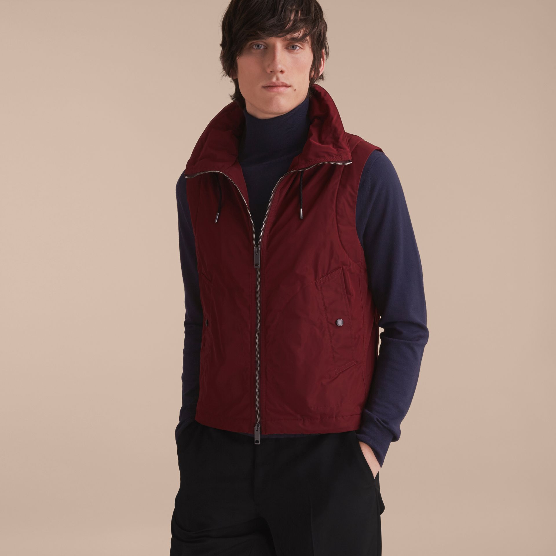 Lightweight Cotton Car Coat with Detachable Gilet Navy - gallery image 3