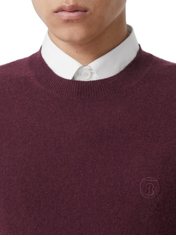 모노그램 모티프 캐시미어 스웨터 (버건디) - 남성 | Burberry - cell image 1