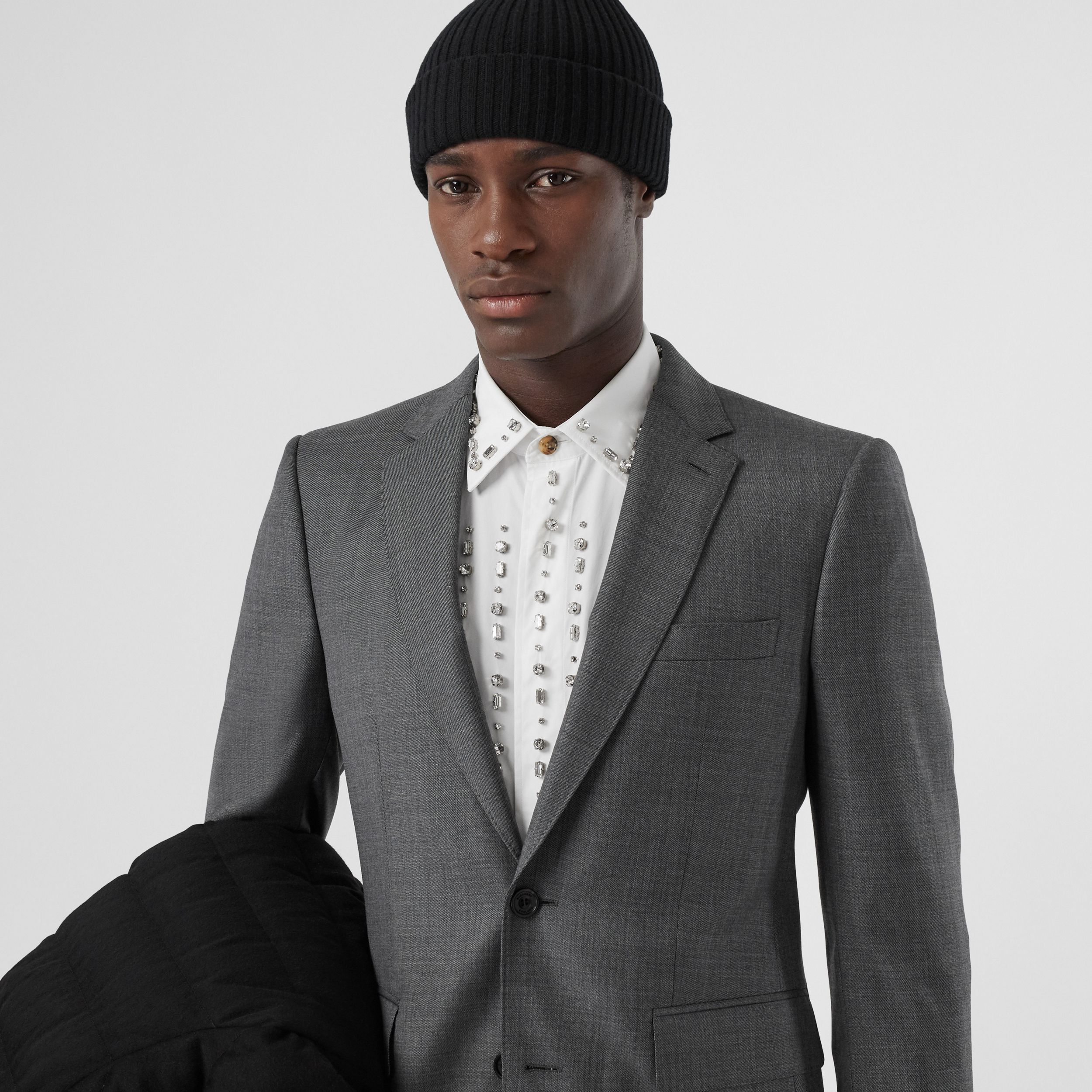 Classic Fit Sharkskin Wool Suit in Mid Grey Melange - Men | Burberry - 2