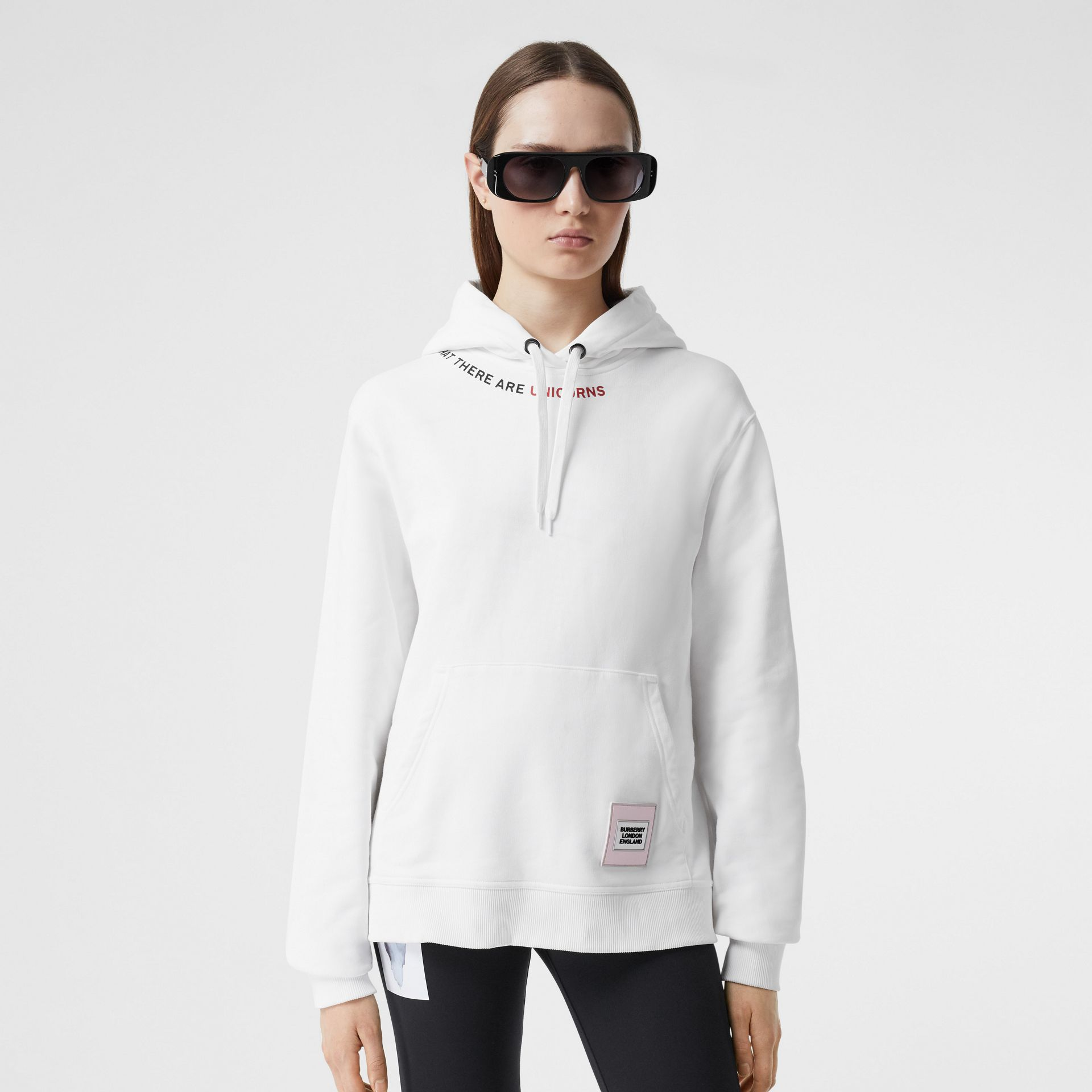 Quote Print Cotton Oversized Hoodie in White - Women | Burberry United States - gallery image 4