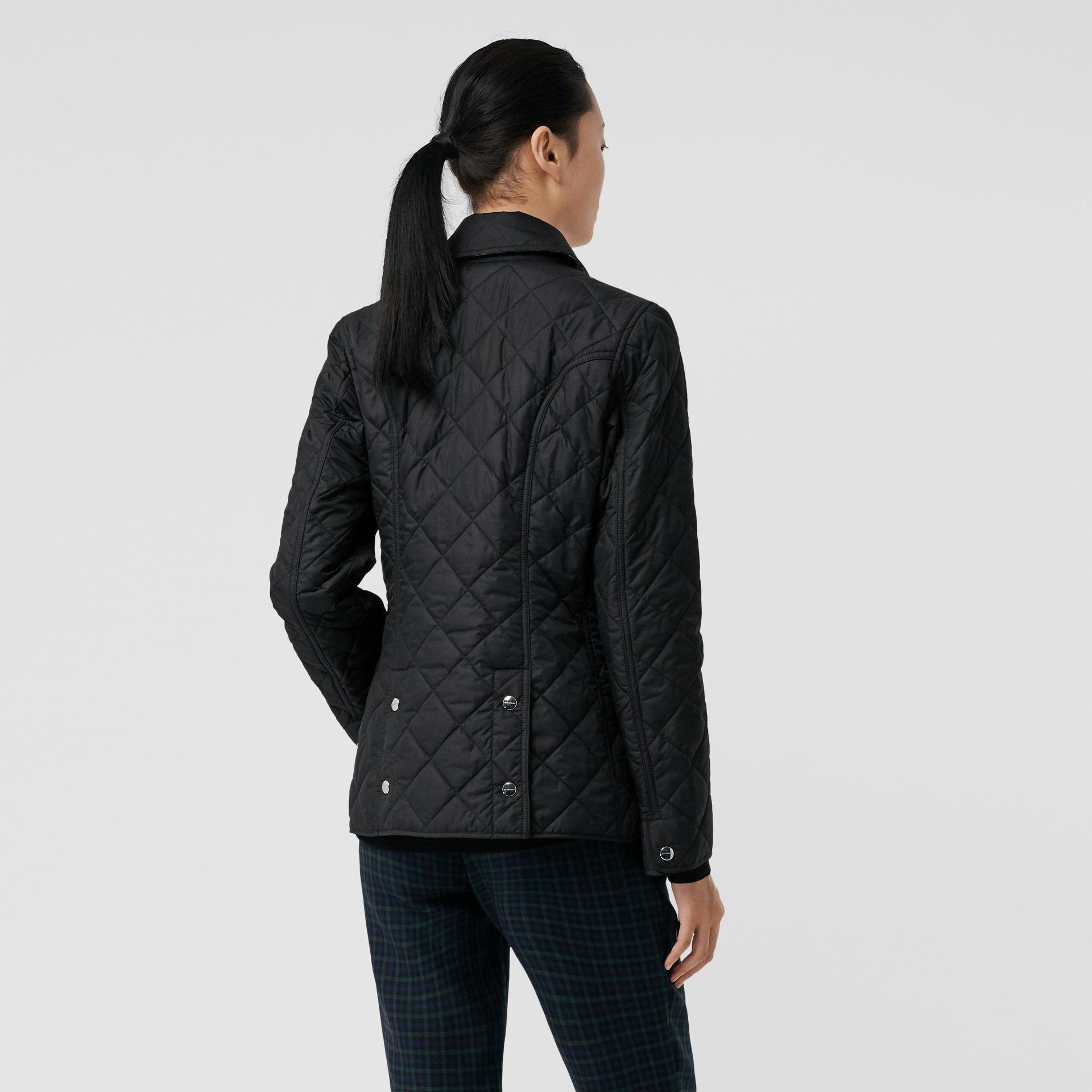 Embroidered Crest Diamond Quilted Jacket in Black - Women | Burberry - gallery image 2