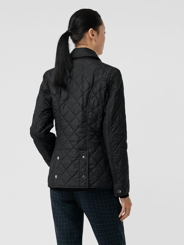 Embroidered Crest Diamond Quilted Jacket in Black - Women | Burberry United States - cell image 2