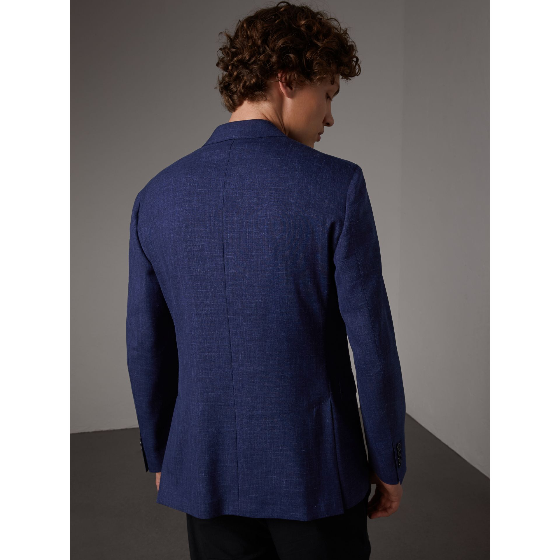 Modern Fit Wool Silk Linen Tailored Half-canvas Jacket in Steel Blue - Men | Burberry Hong Kong - gallery image 3