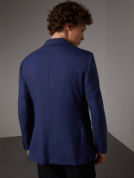Modern Fit Wool Silk Linen Tailored Half-canvas Jacket in Steel Blue - Men | Burberry Hong Kong - cell image 2