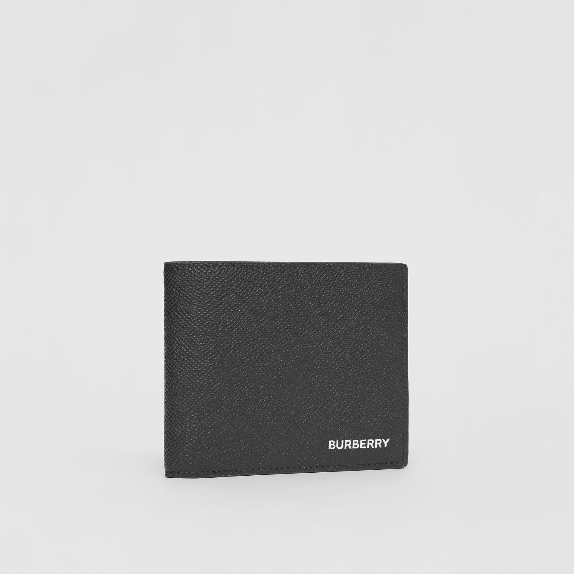 Grainy Leather Bifold Wallet with ID Card Case in Black - Men | Burberry - gallery image 3
