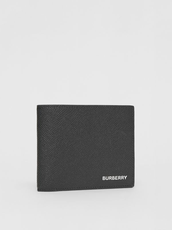 Grainy Leather Bifold Wallet with ID Card Case in Black - Men | Burberry - cell image 3