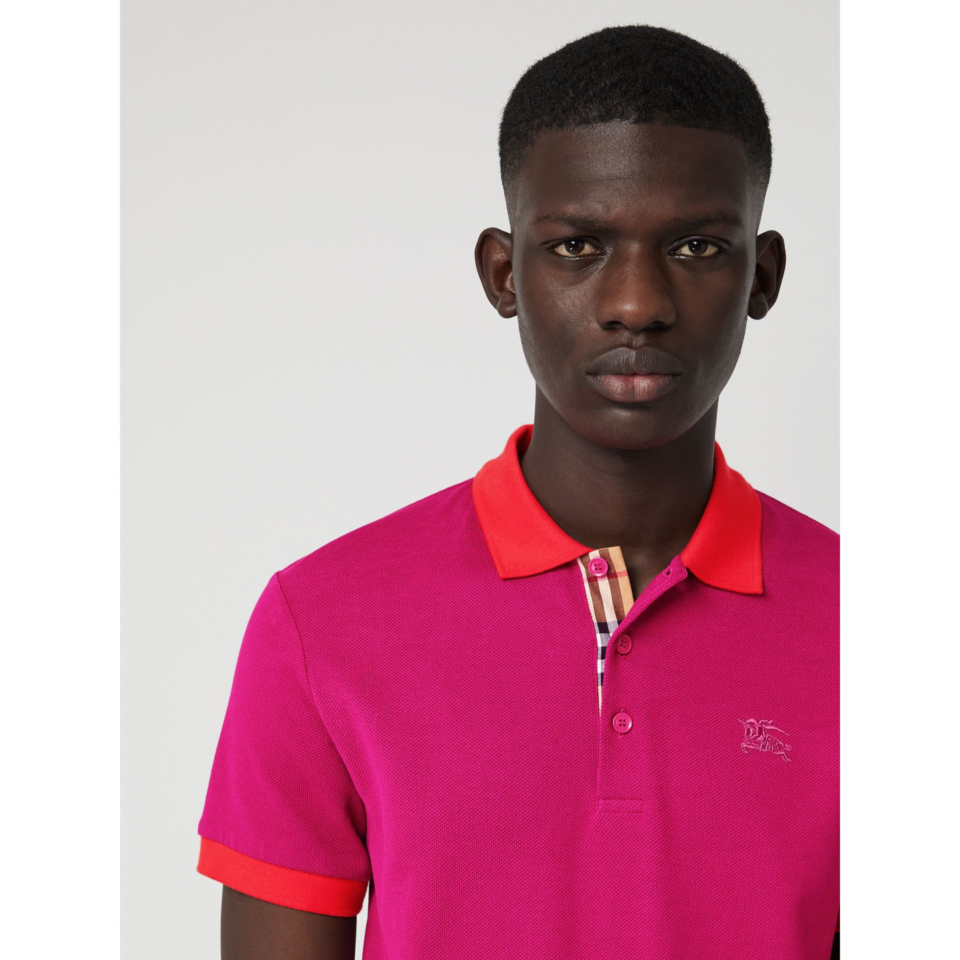Contrast Collar Cotton Polo Shirt in Plum Pink - Men | Burberry - gallery image 1