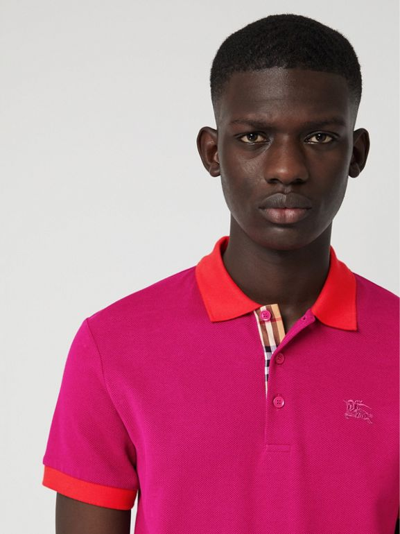 Contrast Collar Cotton Polo Shirt in Plum Pink - Men | Burberry United Kingdom - cell image 1