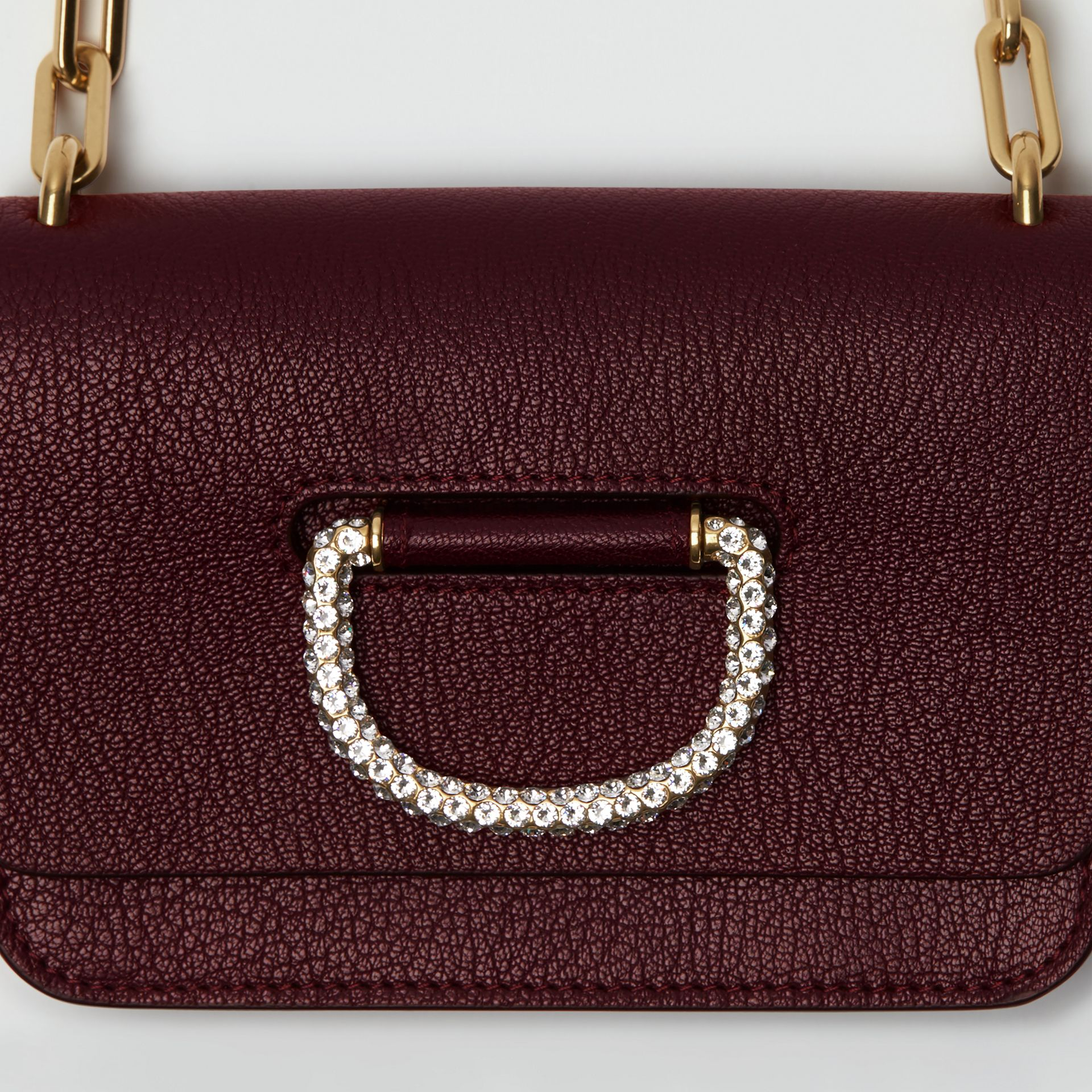 The Mini Leather Crystal D-ring Bag in Deep Claret - Women | Burberry Hong Kong - gallery image 1