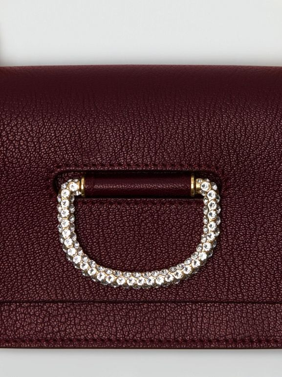 The Mini Leather Crystal D-ring Bag in Deep Claret - Women | Burberry - cell image 1