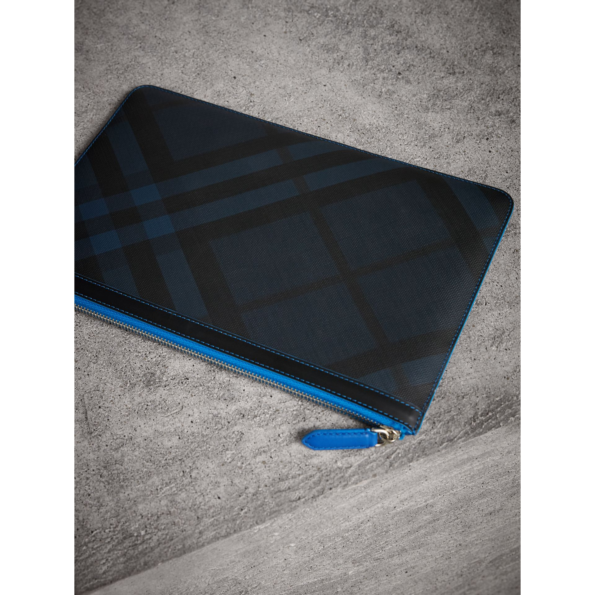 Zip-top London Check Pouch in Navy/blue - Men | Burberry - gallery image 3