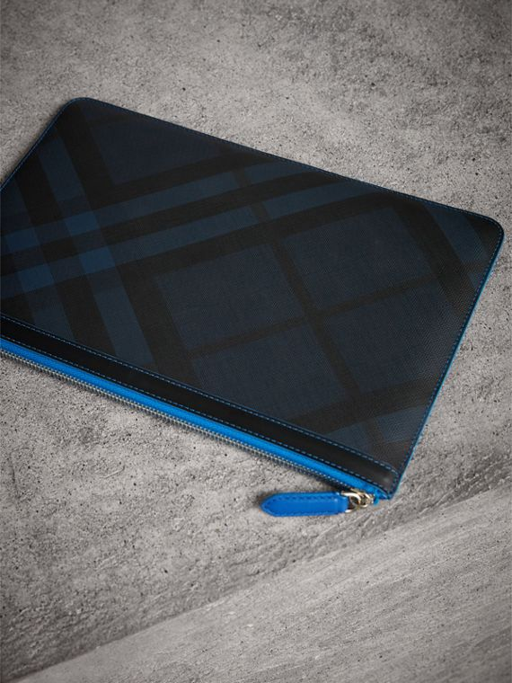 Zip-top London Check Pouch in Navy/blue - Men | Burberry Singapore - cell image 2