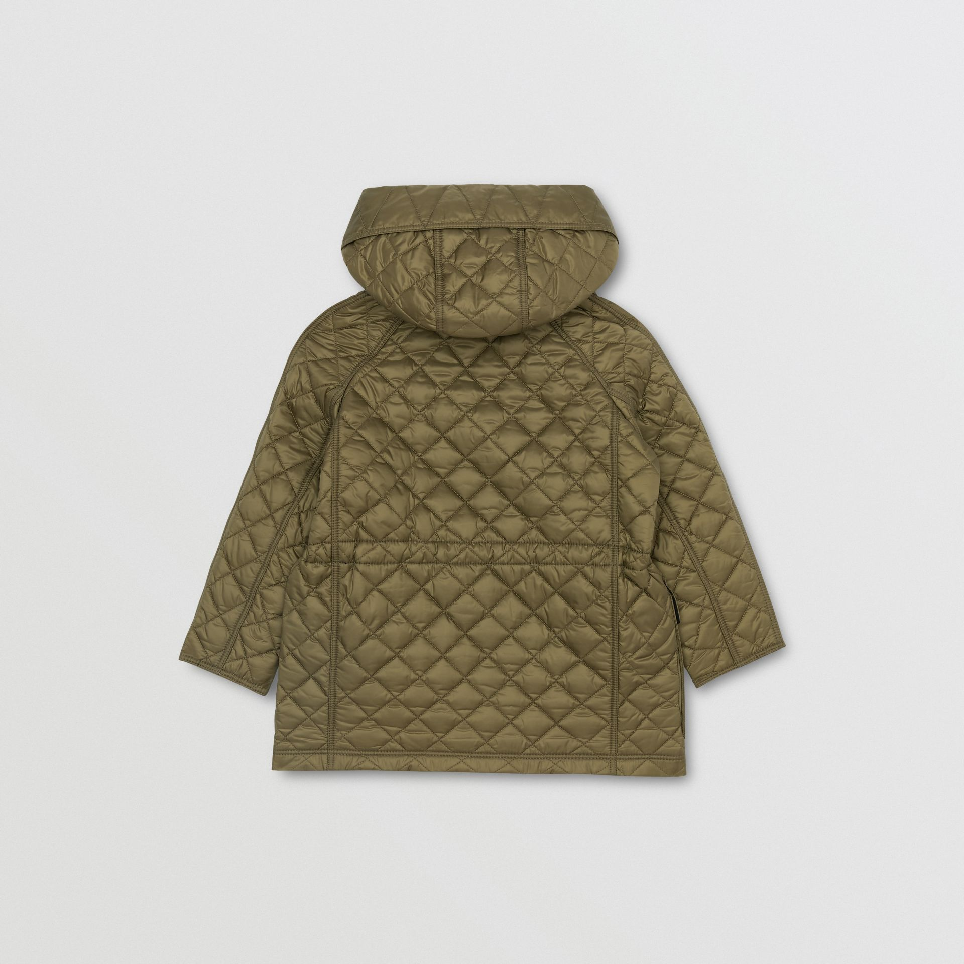 Diamond Quilted Hooded Coat in Military Olive | Burberry - gallery image 3