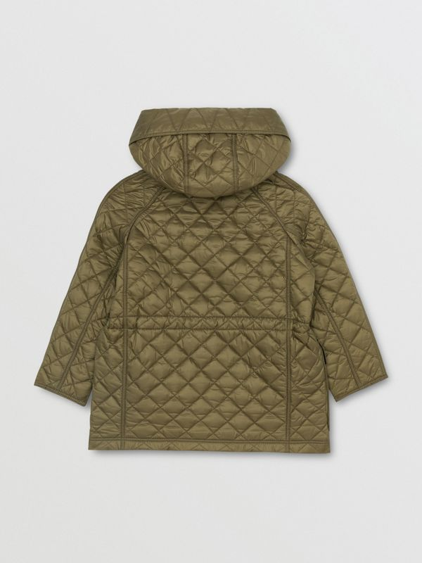 Diamond Quilted Hooded Coat in Military Olive | Burberry - cell image 3