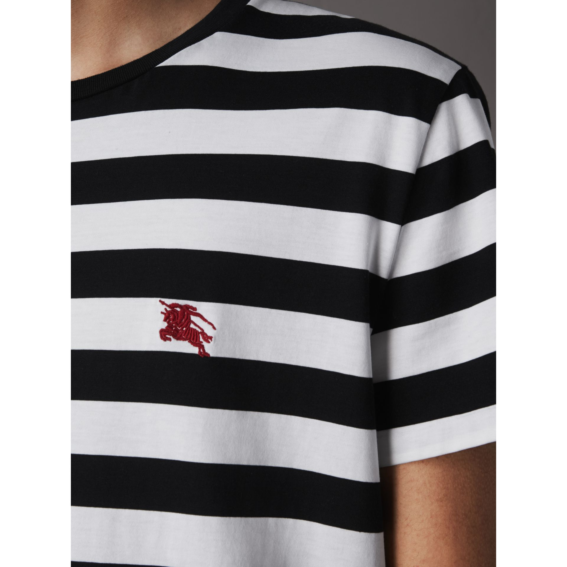 Striped Cotton T-Shirt in Black/white - Men | Burberry - gallery image 2