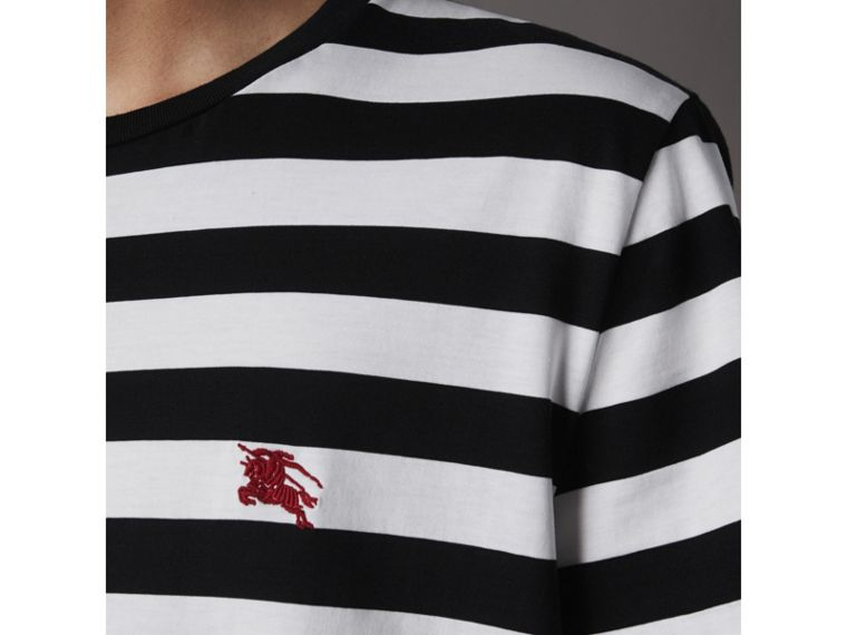 Striped Cotton T-Shirt in Black/white - Men | Burberry Canada - cell image 1