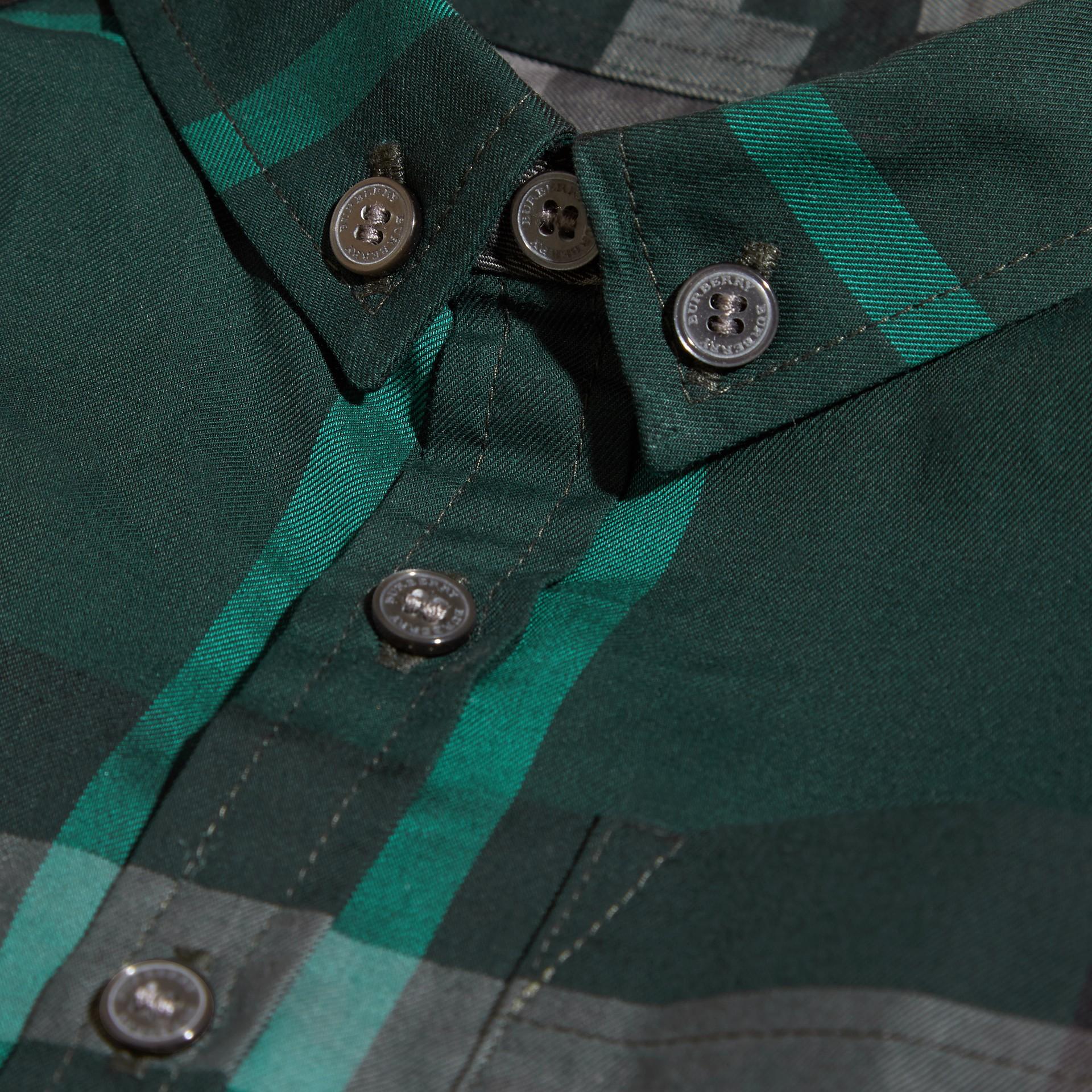 레이싱 그린 체크 버튼 다운 코튼 셔츠 레이싱 그린 - 갤러리 이미지 2
