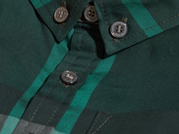 Racing green Check Button-Down Cotton Shirt Racing Green - cell image 1